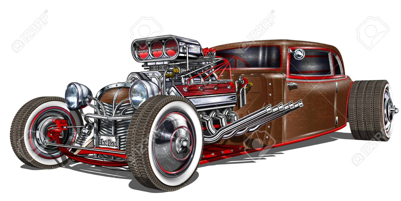 Vintage Hot Rod Antique Old Car Vehicle Royalty Free Cliparts ...