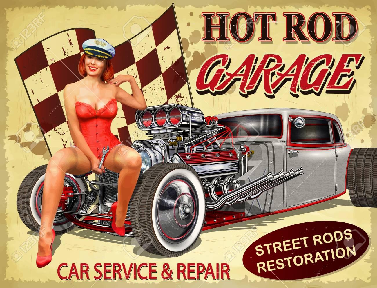 Vintage Hot Rod garage poster. - 95444950
