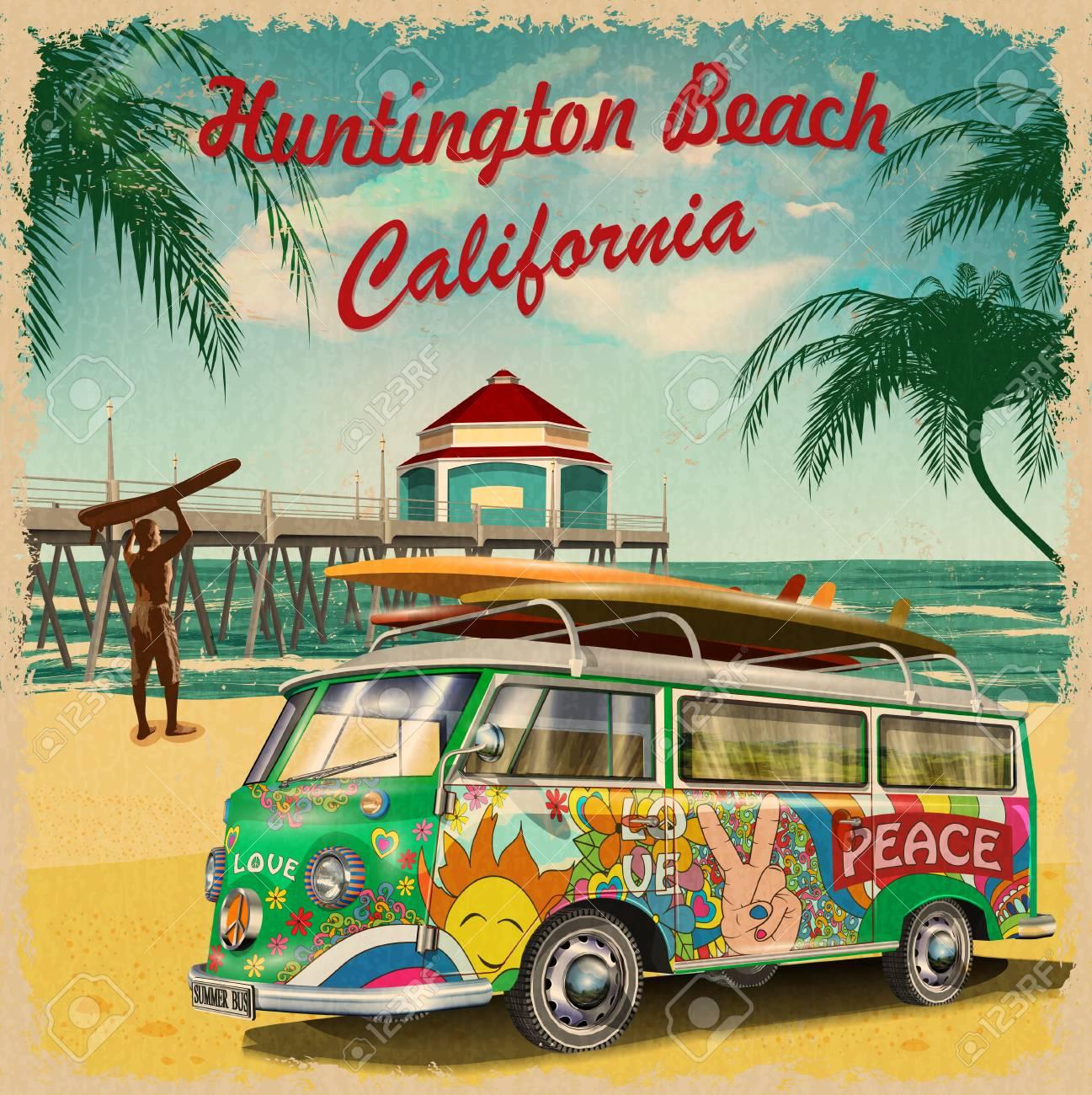 Huntington Beach,California retro poster. - 98412779
