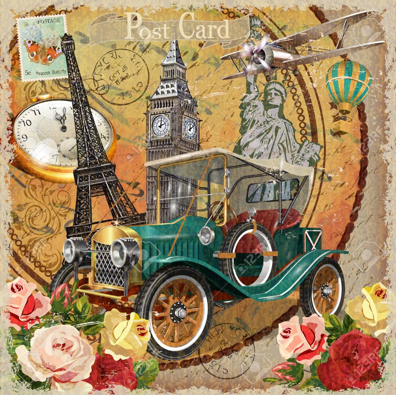 Travel around the world vintage poster. - 98892605