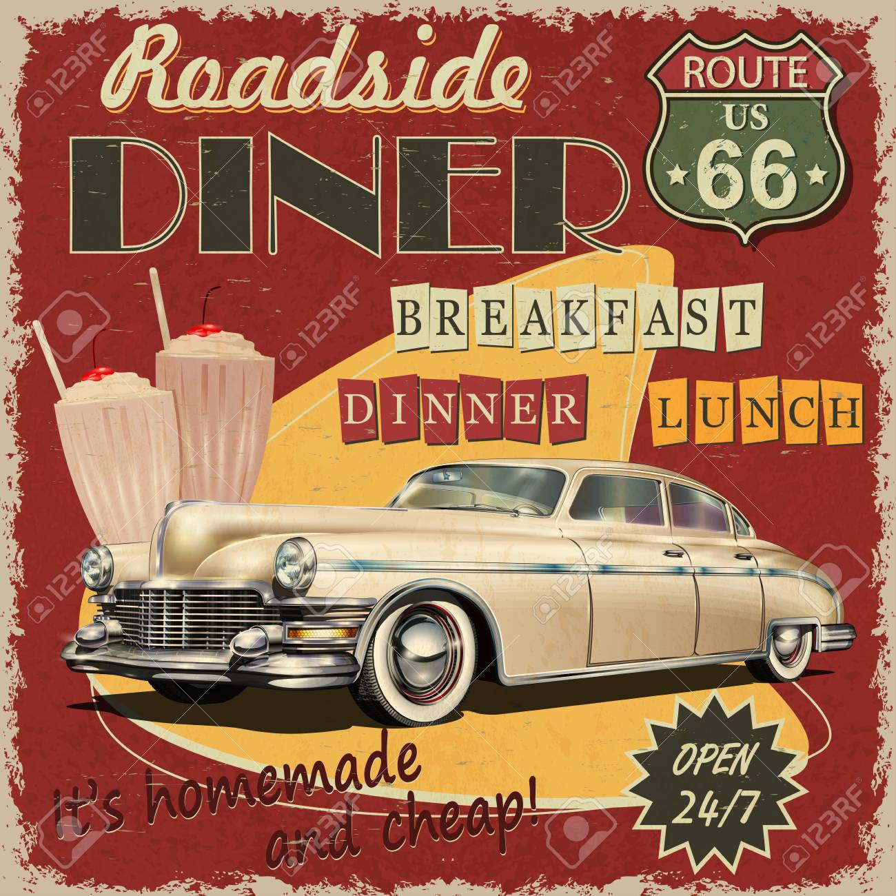 American Diner Vintage Poster Royalty Free Cliparts Vectors And Stock Illustration Image 108996414