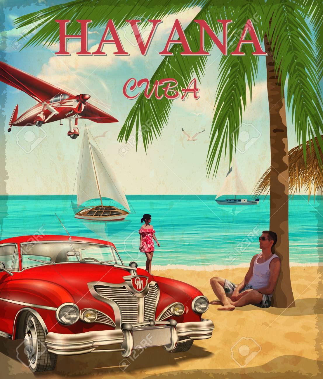 Havana retro poster. - 115903658