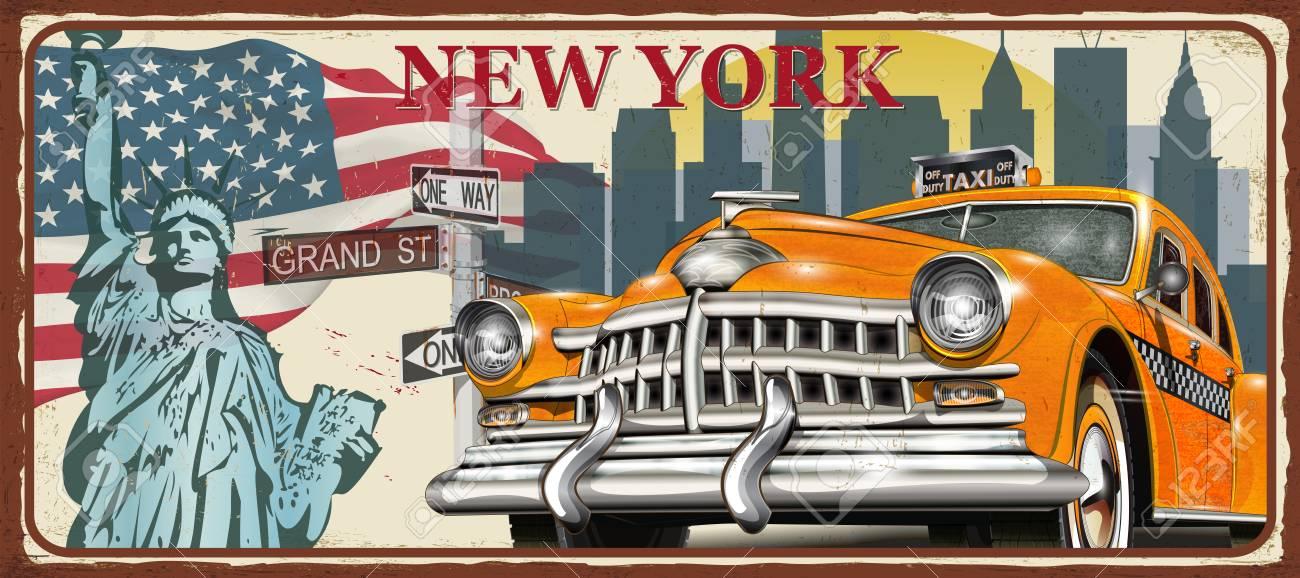 New York vintage metal sign, vector illustration. - 122405764