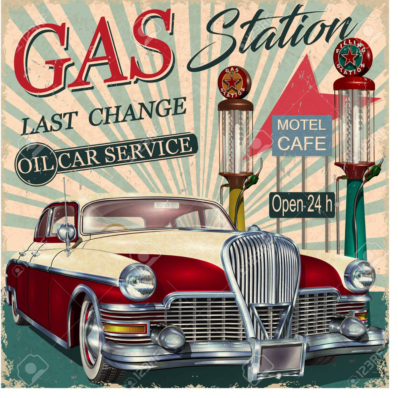 Gas station retro poster with vintage car. - 128473329