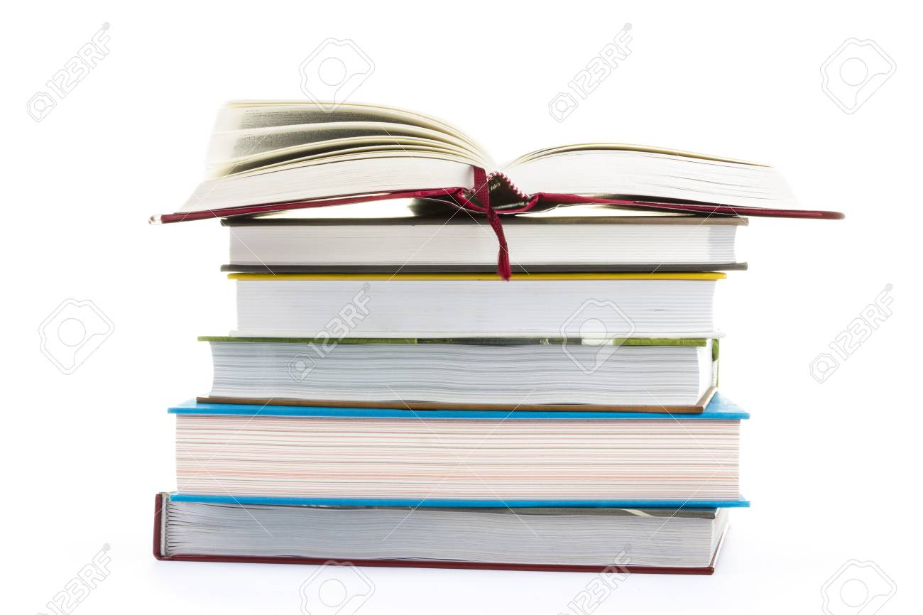 Isolated stack of books - 14387807