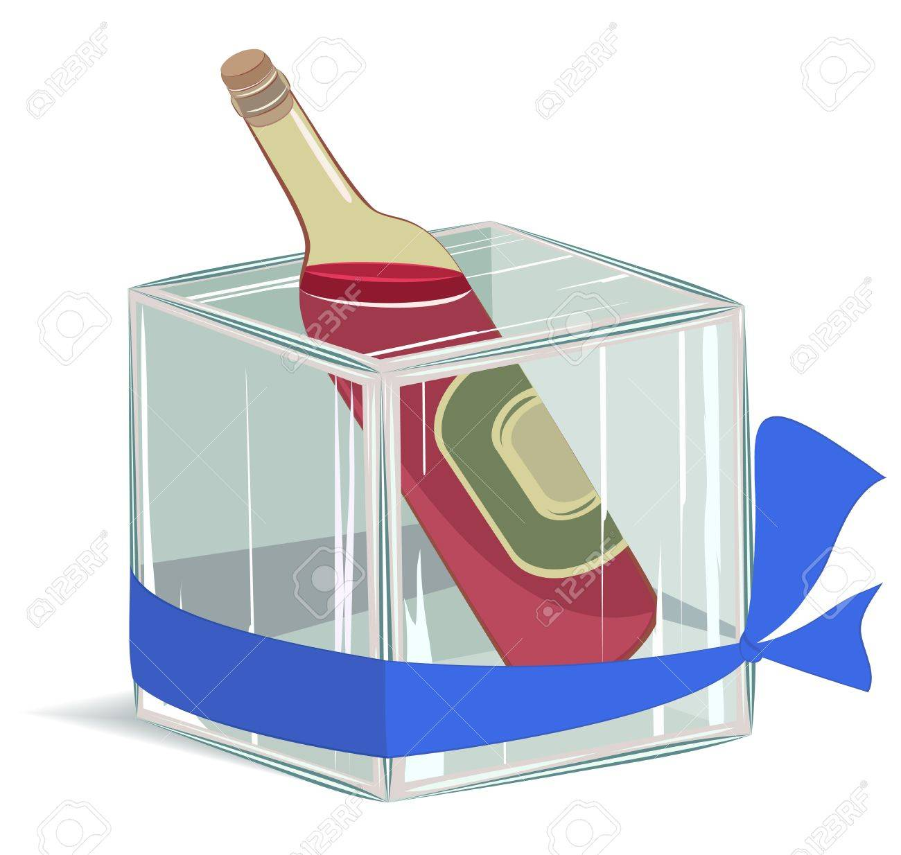 Bottle of wine in ice cube. no transparency, EPS8 layered illustration Stock Vector - 11552996