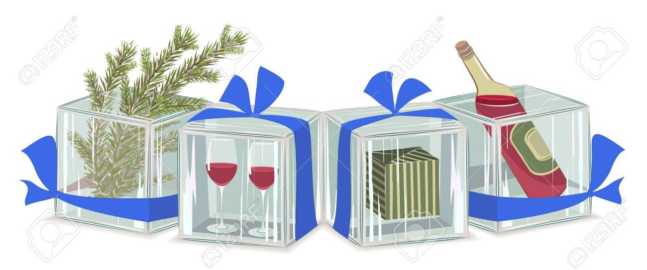 Christmas composition in ice cubes. no transparency, EPS8 layered illustration Stock Vector - 11552999