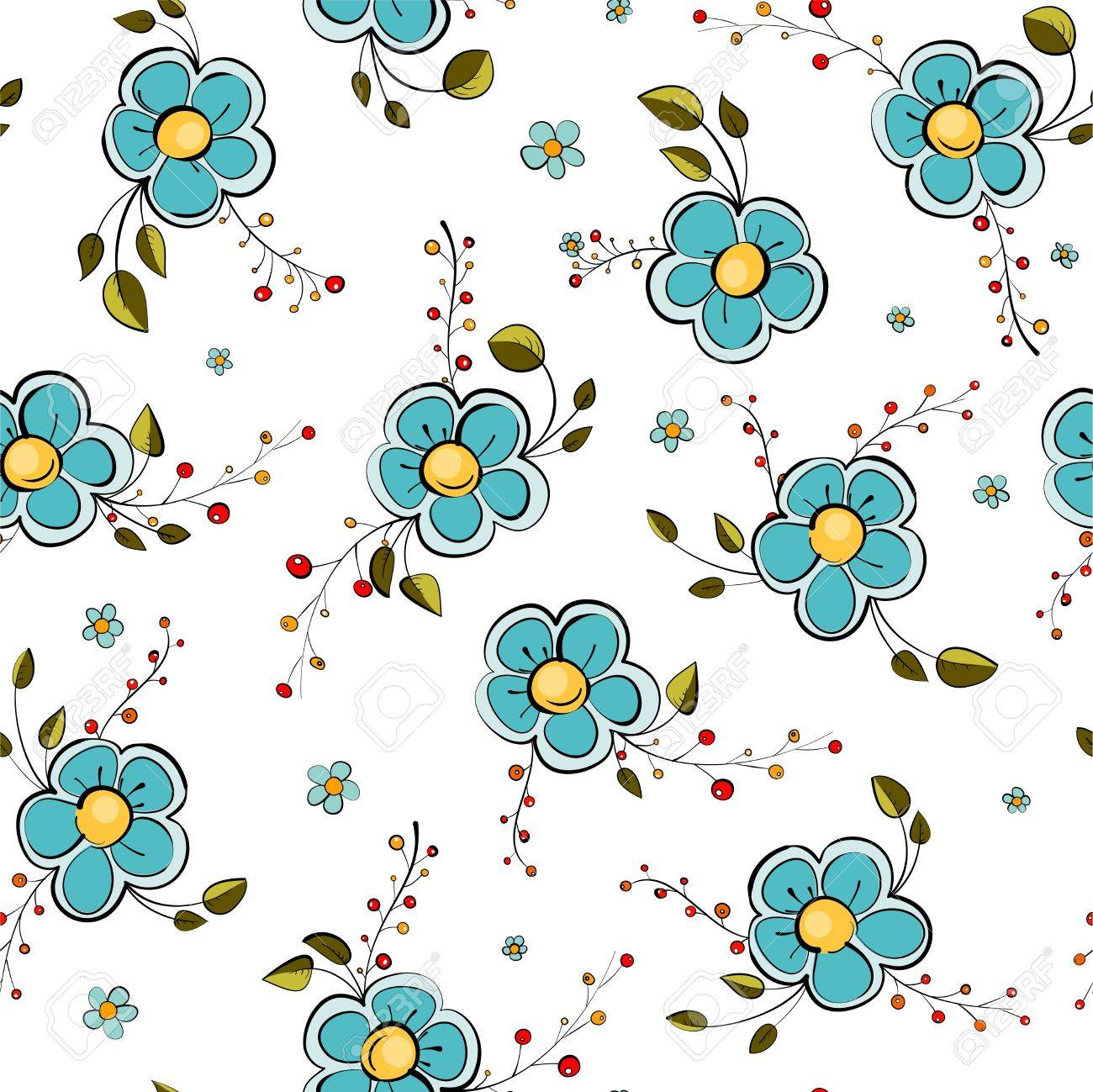 Blue Flowers Seamless Pattern Stock Vector - 16317154