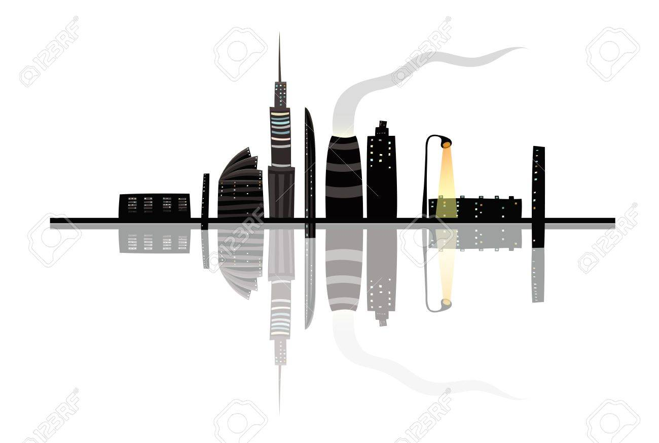 Night City Landscape Reflection Cartoon Stock Vector - 17428563