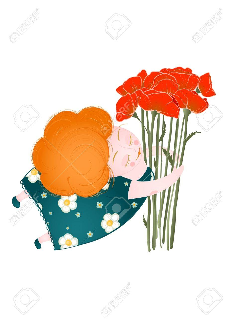 Middle Age Happy Woman with Flowers Stock Vector - 18166750