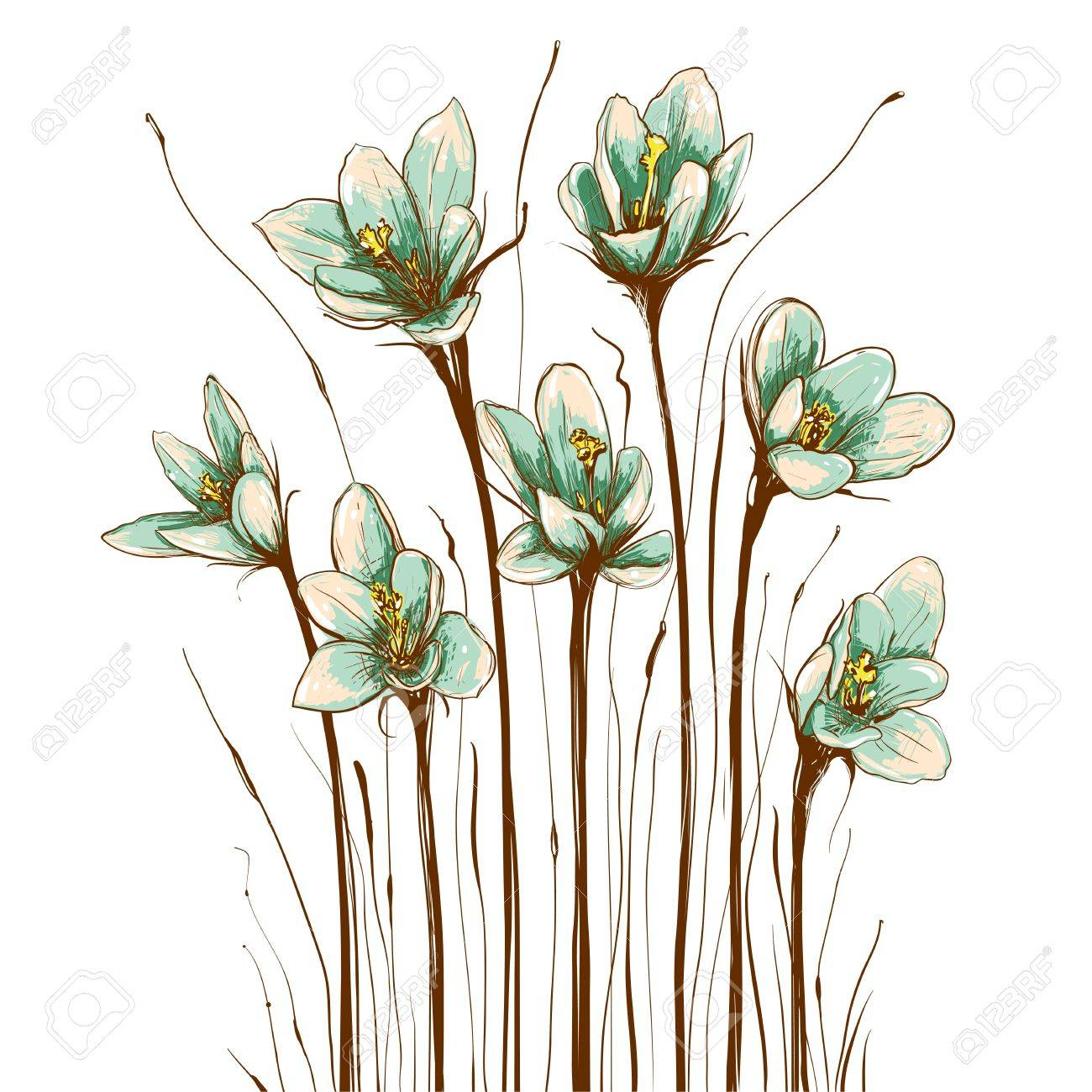 Flores Vintage Composicion Ilustraciones Vectoriales Clip Art