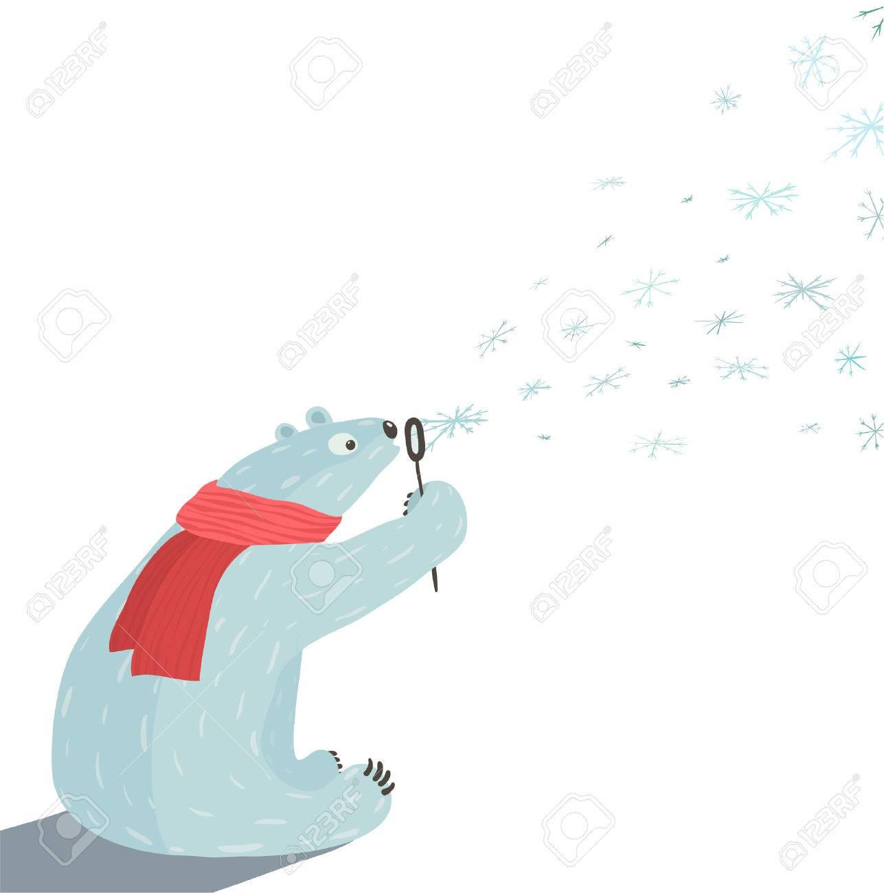Oso Polar Sopla Copos De Nieve Oso Blanco En La Bufanda Roja Que Se ...