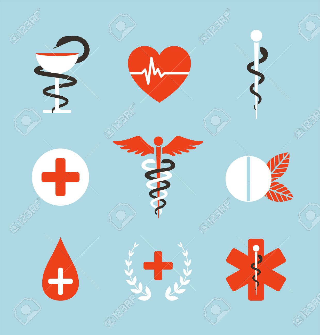 Medical Symbols Emblems And Signs Collection Set Of Graphic Medicine