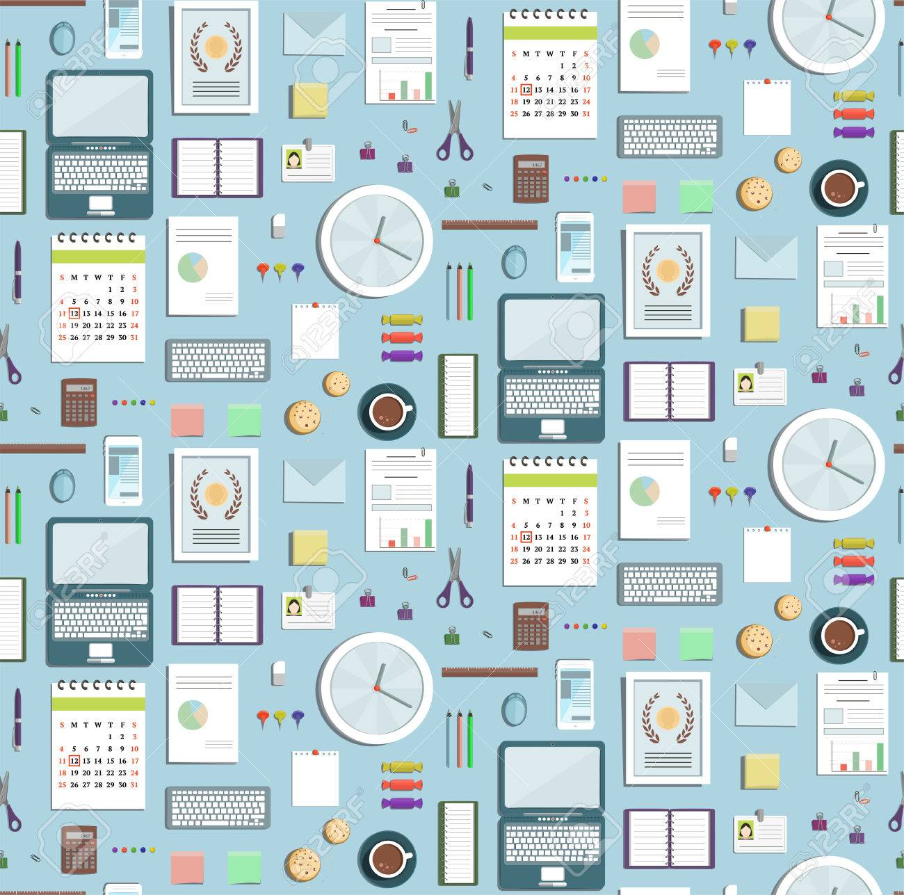 colored seamless pattern office supplies flat style business wallpaper business objects tileable background on blue business office wallpaper