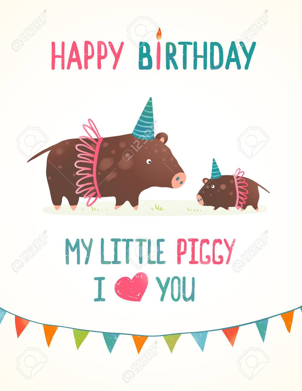 little piggy and mother birthday greeting card cartoon
