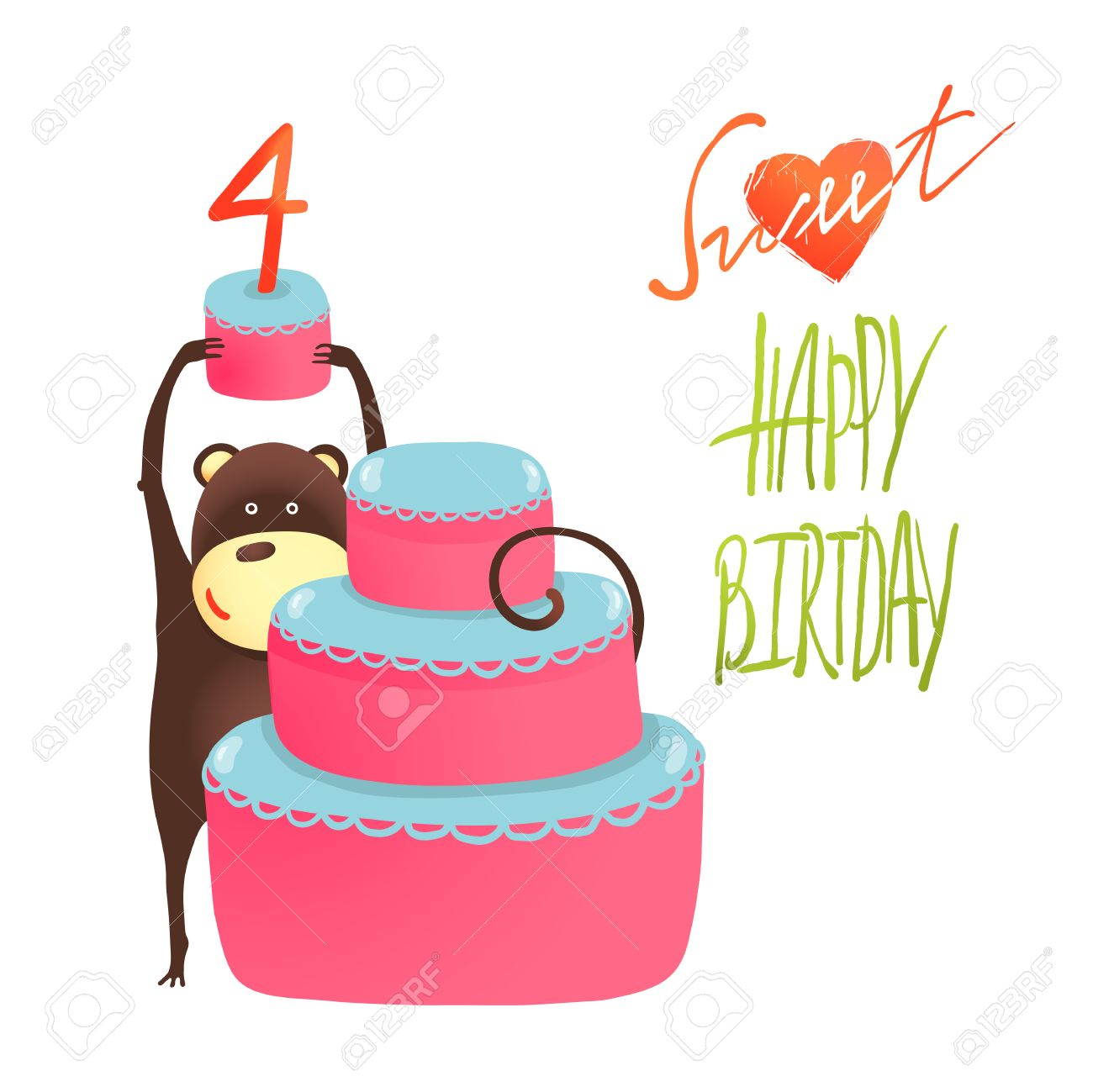Monkey cake four years old with happy birthday greeting funny monkey cake four years old with happy birthday greeting funny monkey standing with cake m4hsunfo