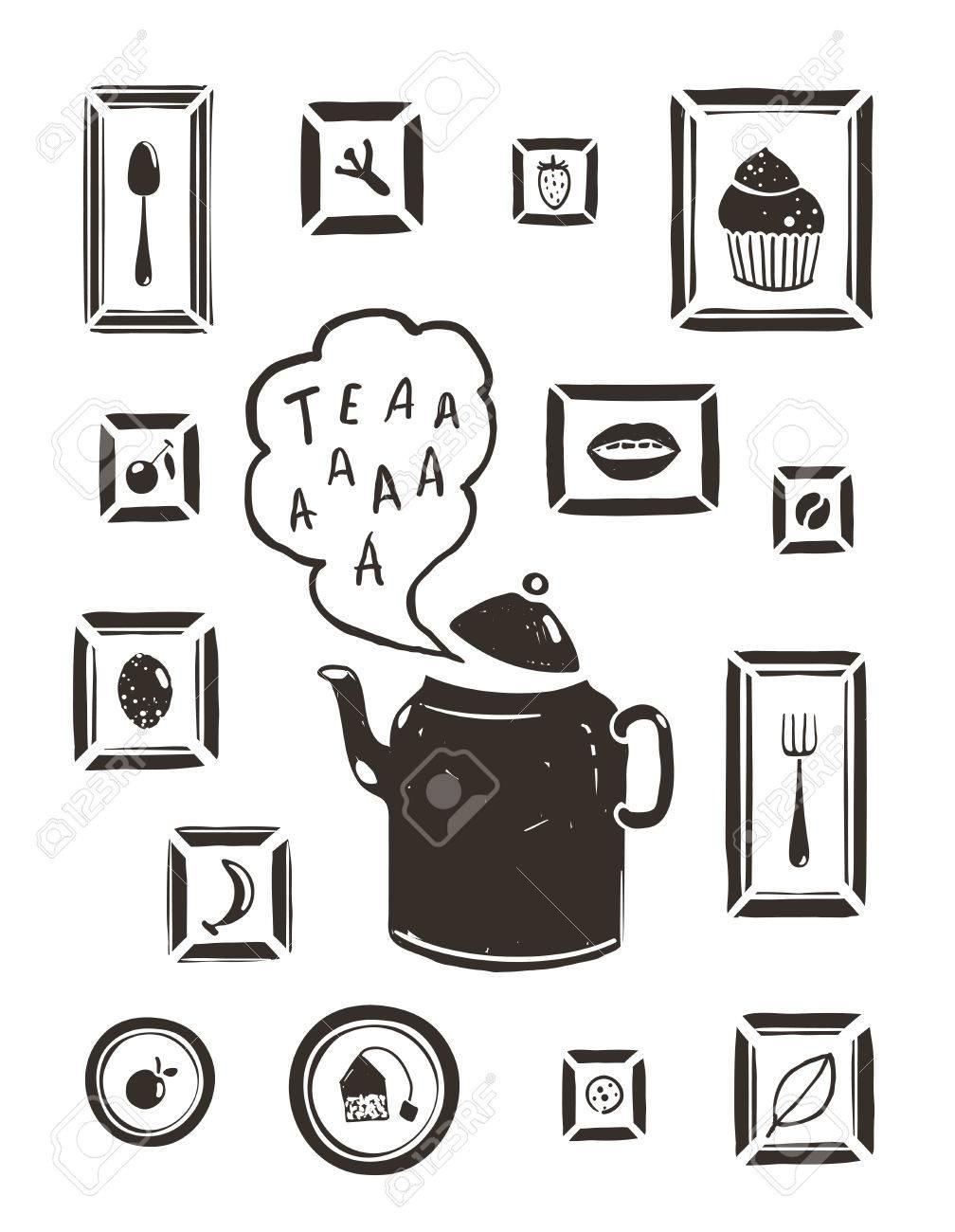 Cucina Bere Tè Teiera E Cucina Arte Cornici Tea-potabile E Di ...