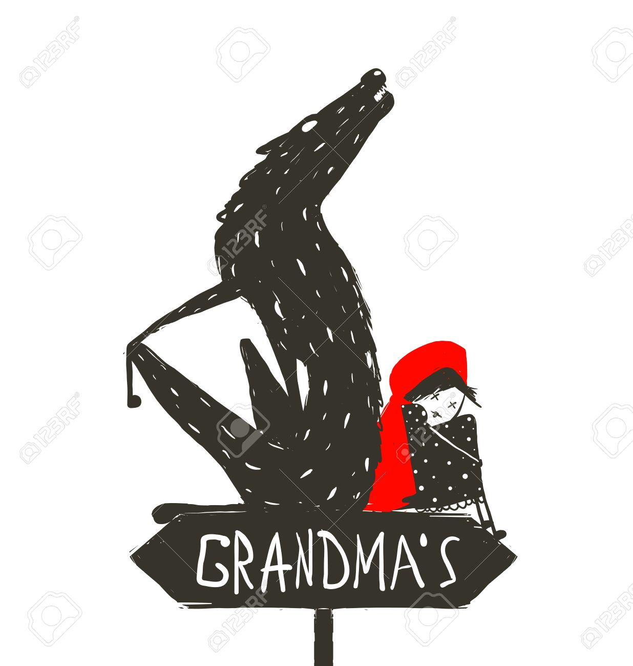 Little Red Riding Hood and Scary Wolf. Little Red Riding Hood and the wolf sitting back to back on a sign with the sign Grandma. Sketchy artistic drawing. Vector illustration. - 39122815