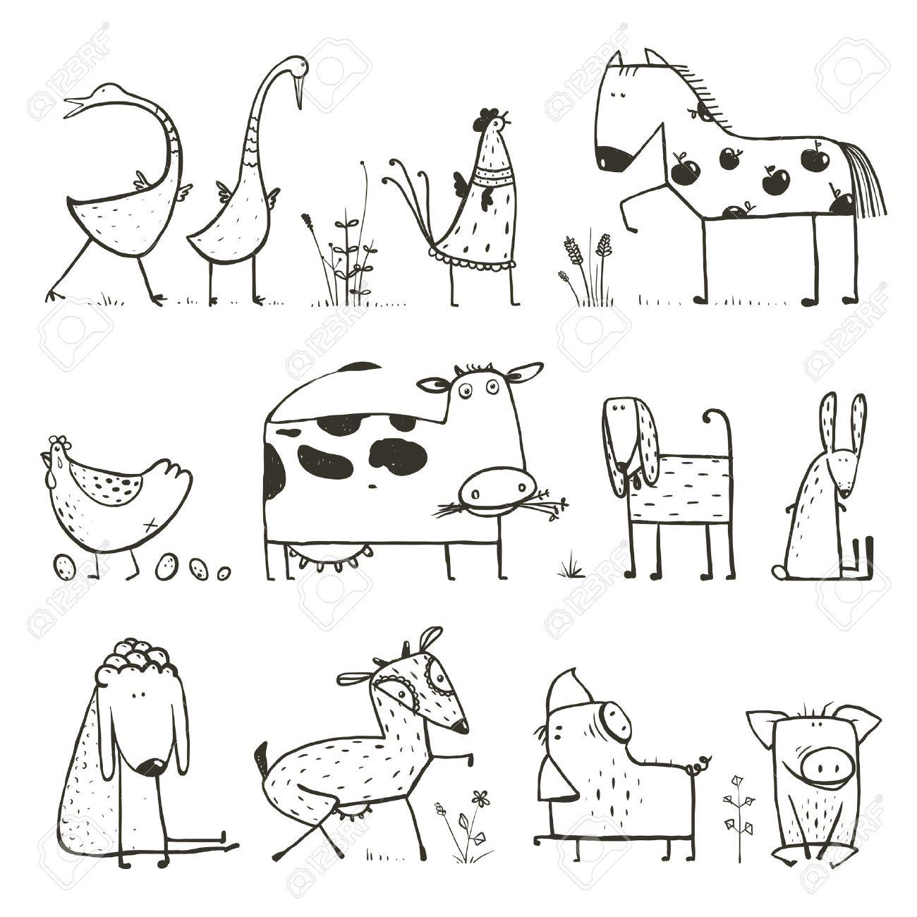 Lustige Cartoon-Bauernhof Nutztier Oder Haustier Kollektion Für ...