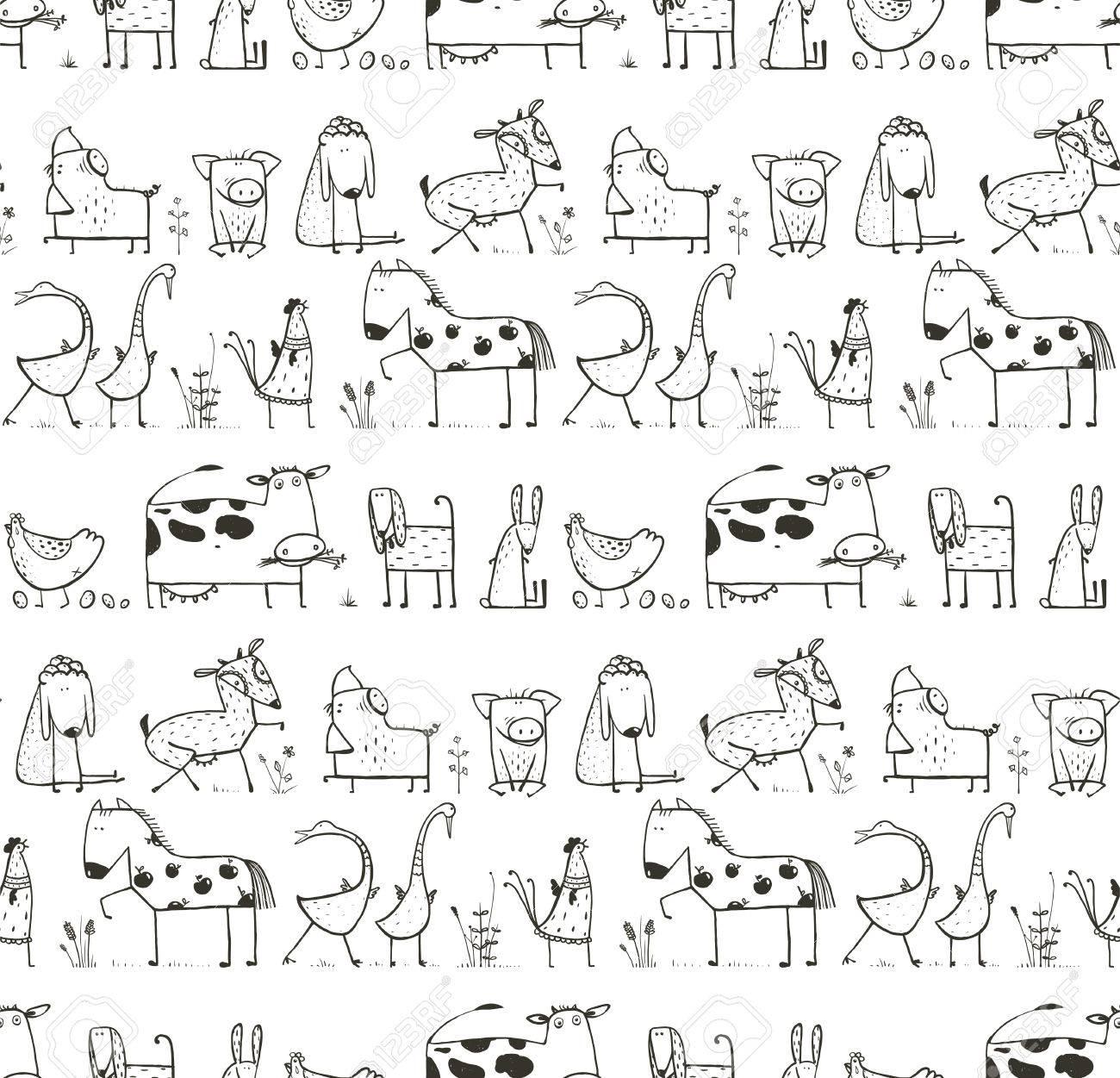 Lustige Cartoon-Bauernhof Nutztier oder Haustier nahtlose Muster für Kinder  Malvorlagen