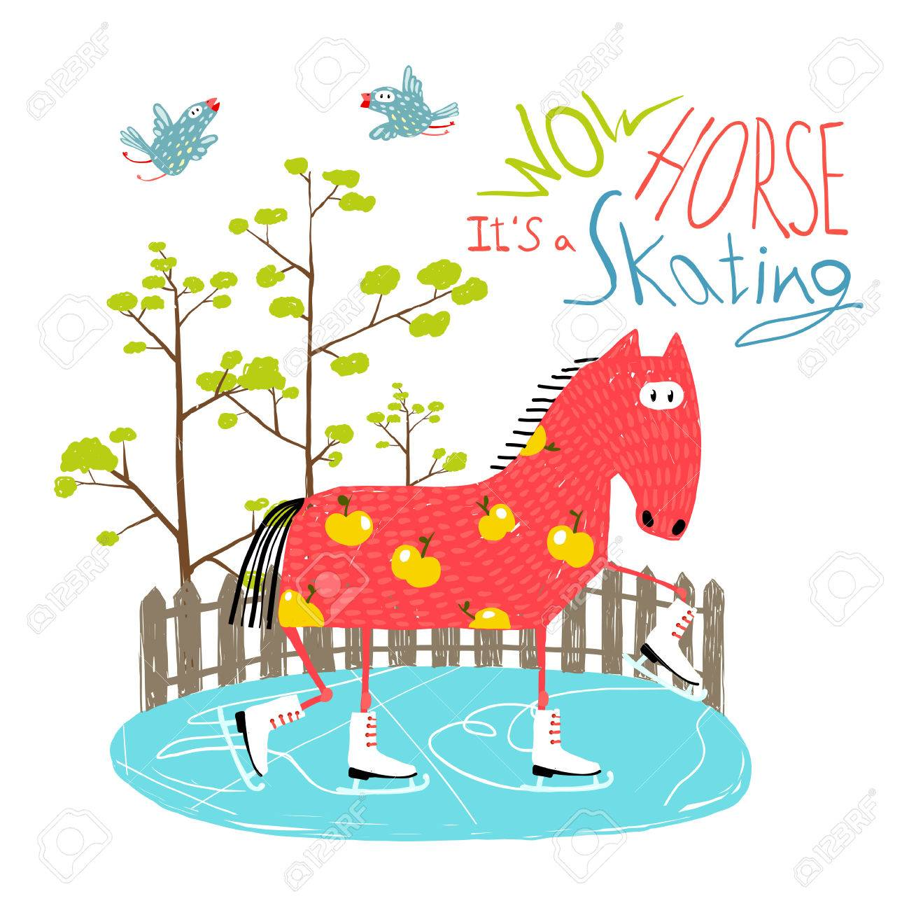 Colorful Fun Cartoon Ice Skating Horse for Kids - 40344740