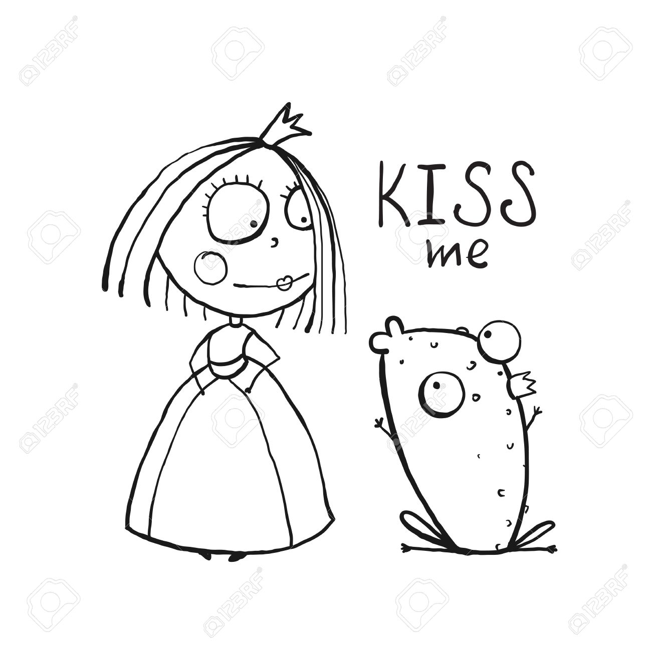 Princess story coloring pages - Baby Princess And Frog Asking For Kiss Coloring Page Kids Love Story Cute And Fun