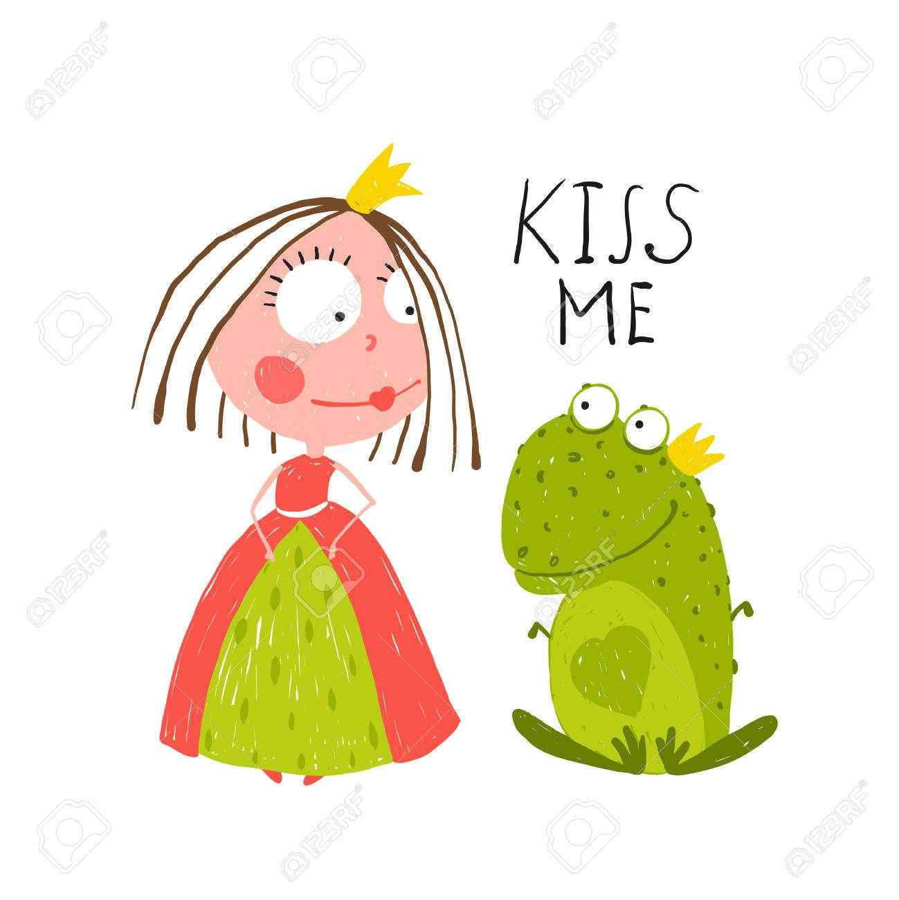 Baby Princess and Frog Asking for Kiss. Kids love story cute and fun colored illustration. - 40870108