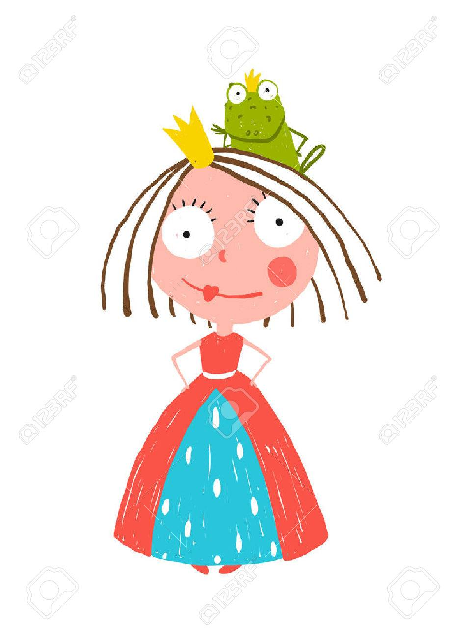 Little Princess Standing with Prince Frog Sitting on Head. Colorful fun childish hand drawn illustration for kids fairy tale. - 40870117