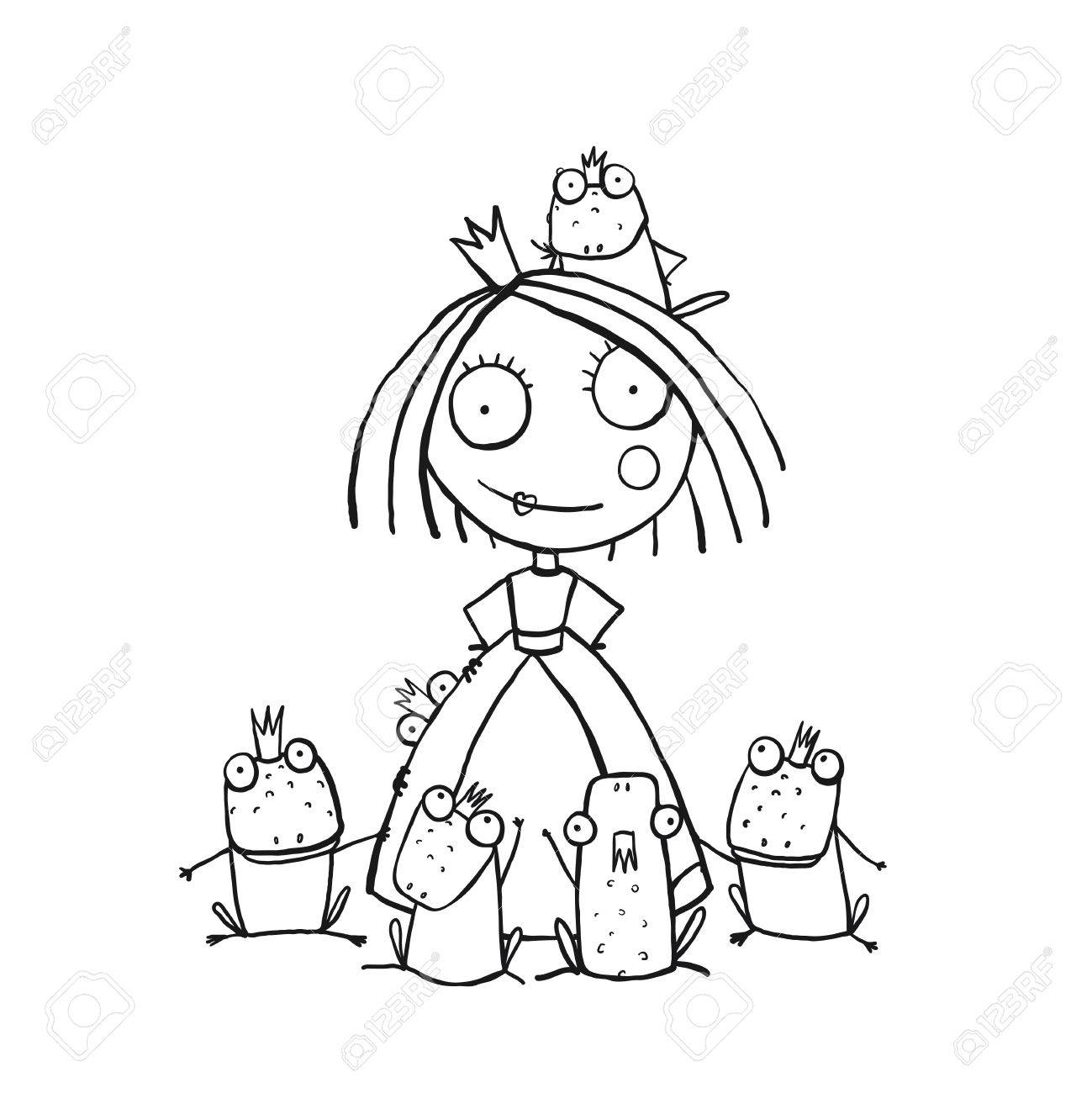 Princess And Many Prince Frogs Portrait Coloring Page Fun Childish Hand Drawn Outline Illustration For