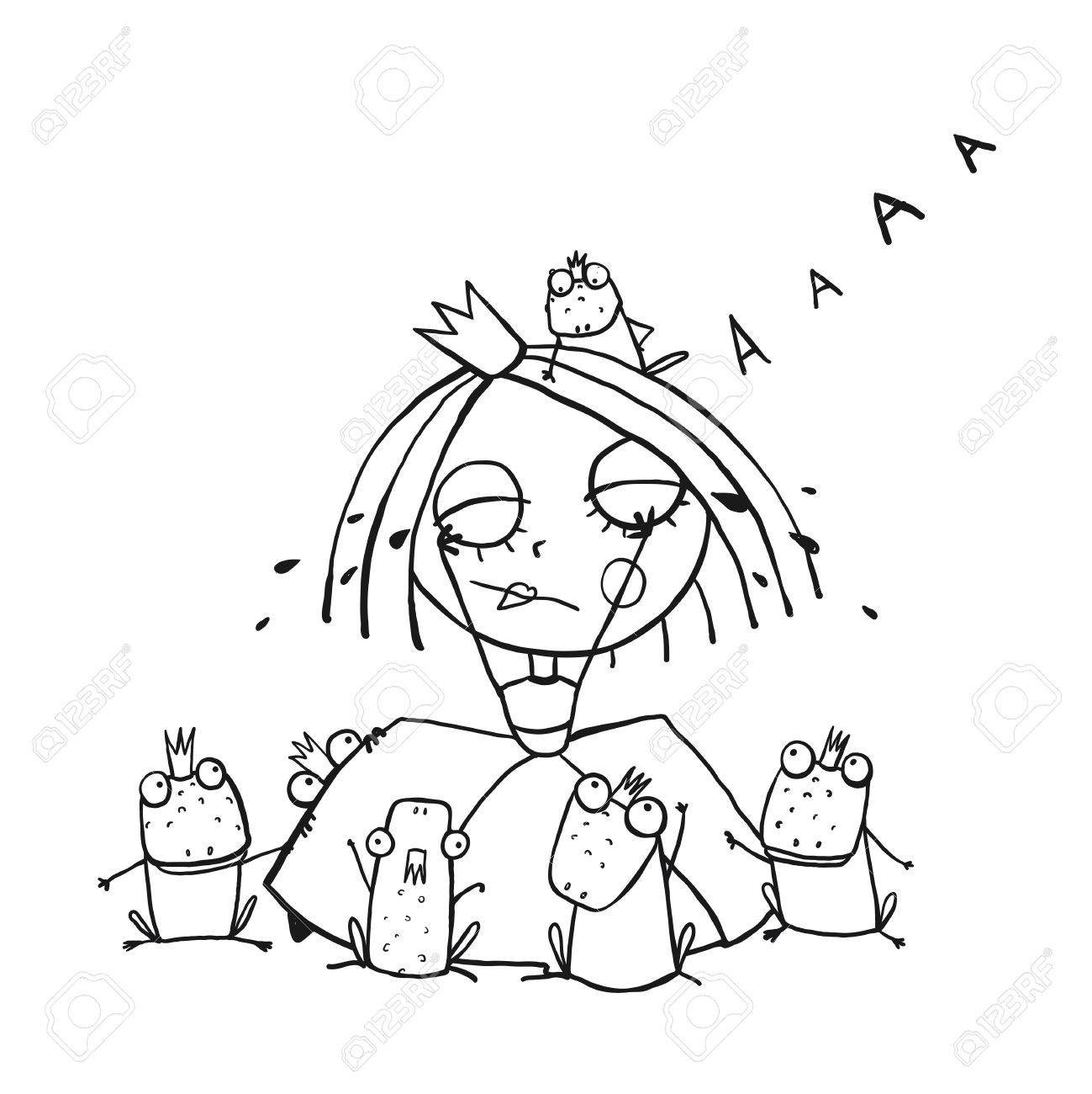 Co coloring sheet prince frog - Co Coloring Sheet Prince Frog Princess Crying And Many Prince Frogs Coloring Page Outline Drawing