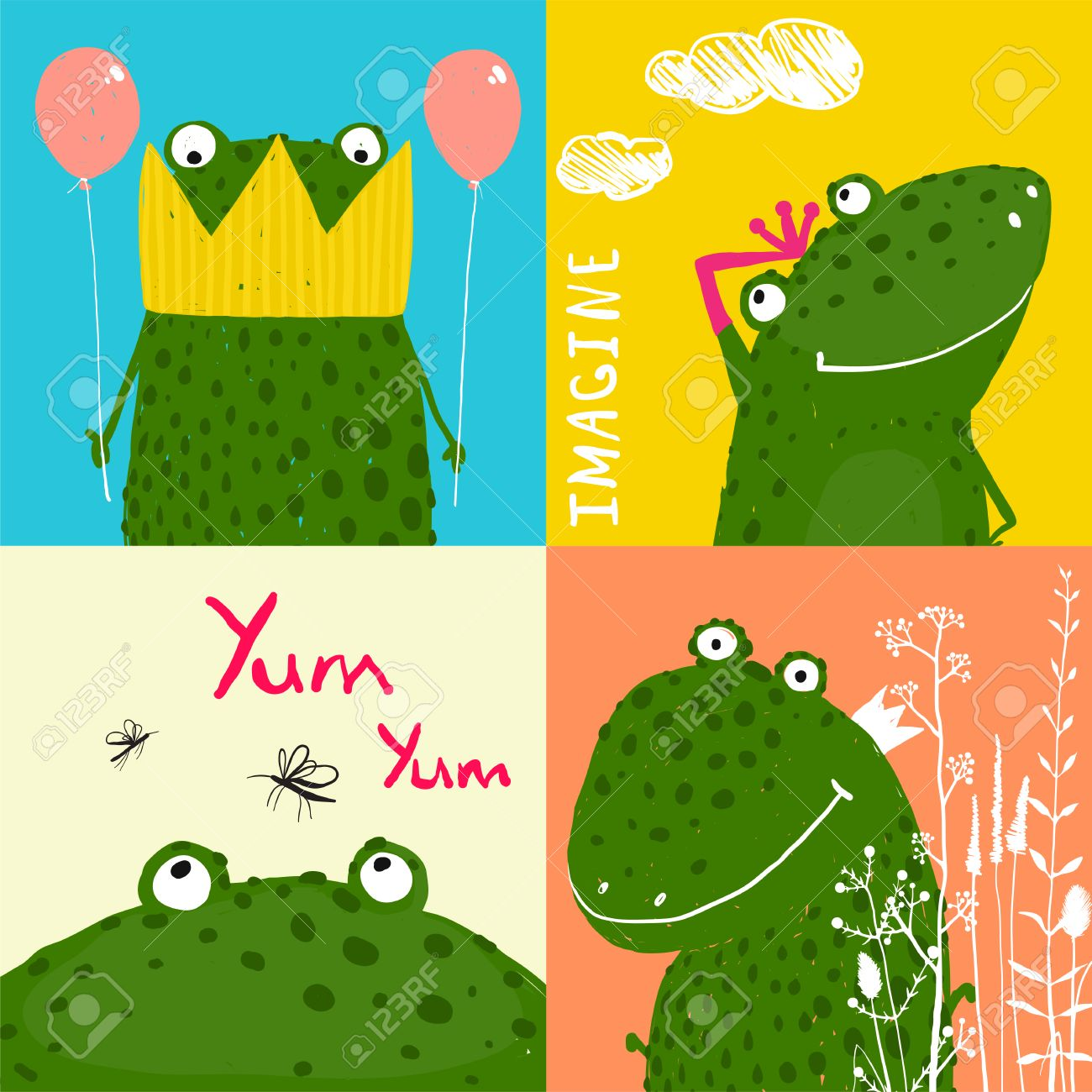 Colorful Fun Cartoon Frogs Animals Greeting Cards For Kids Royalty