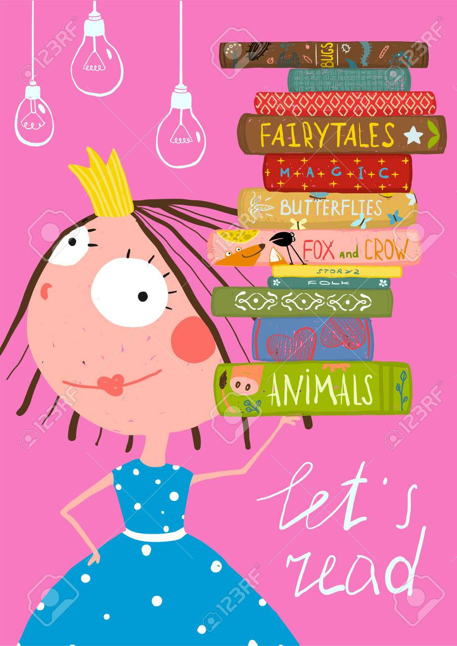 Clever Cute Little Girl Reading Books Poster - 41161147