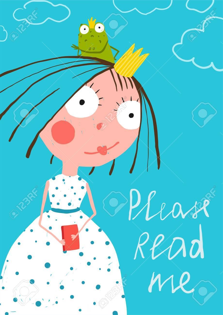 La Pequeña Princesa Linda Con El Libro Cuento Príncipe Rana Lectura ...
