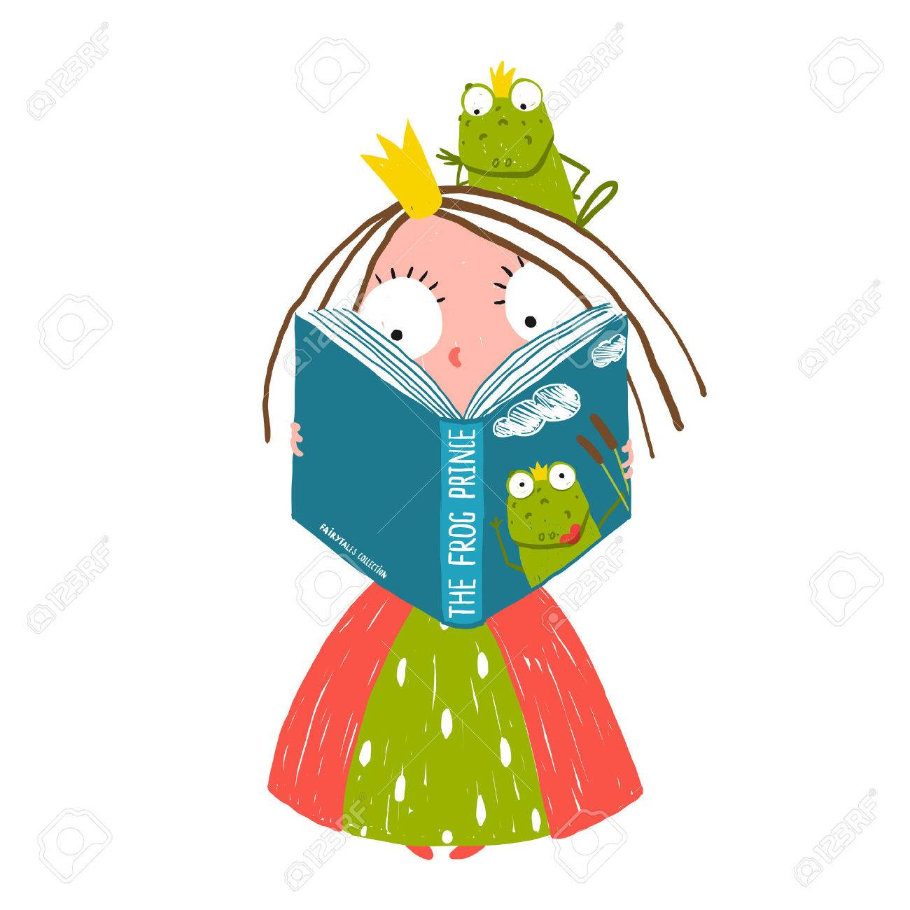 Clever Little Princess Reading Fairy Tale with Prince Frog Sitting on Head - 41161186