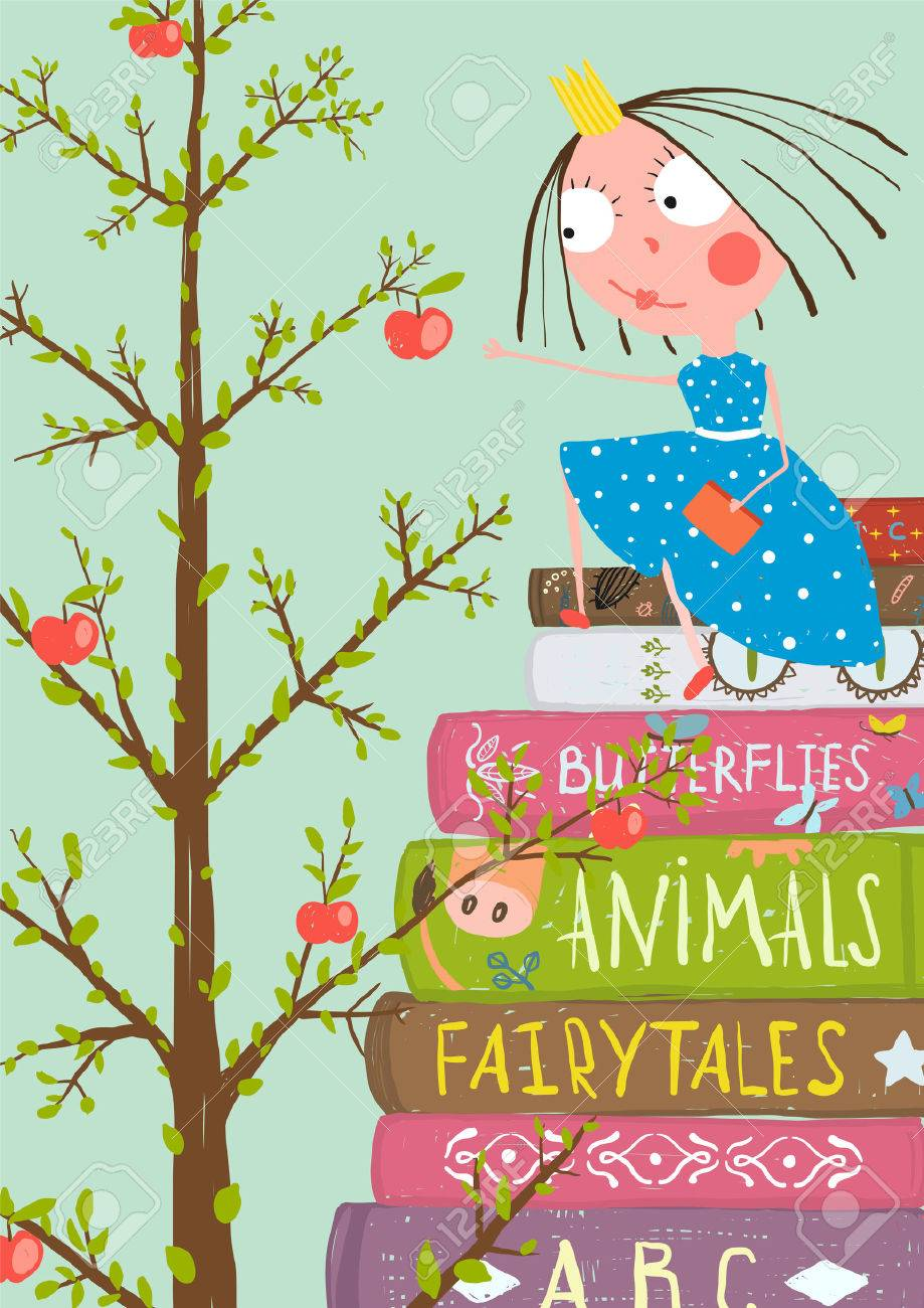 多くの書籍やリンゴの木の好奇心の小さな女の子カラフルな A4 子供