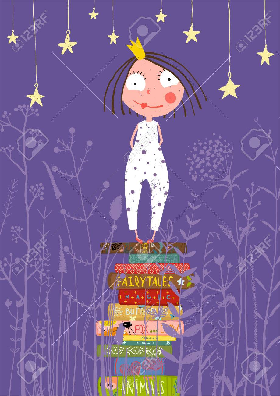 Cute Little Princess Girl Standing on Stack of Books in Pajamas. Child reading fairy tales before going to sleep fairy tale illustration. - 41900104