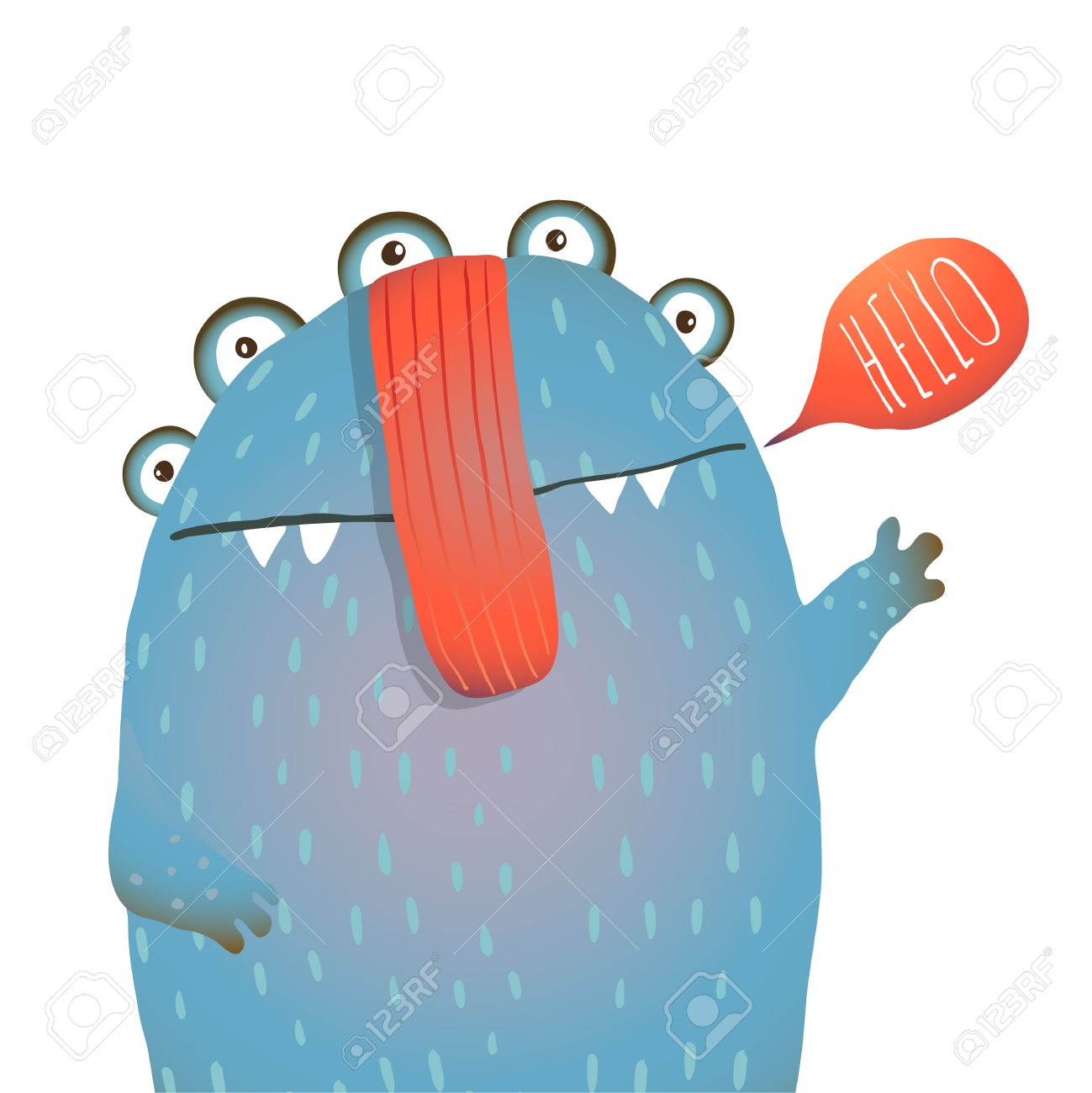 Kind and Cute Funny Monster Saying Hello Waving. Colorful hand drawn illustration for kids of cute creature. Vector drawing. - 43615898