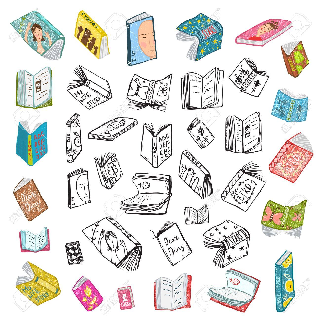 Colorido Abierto Libros Dibujo Biblioteca Gran Colección De Negro