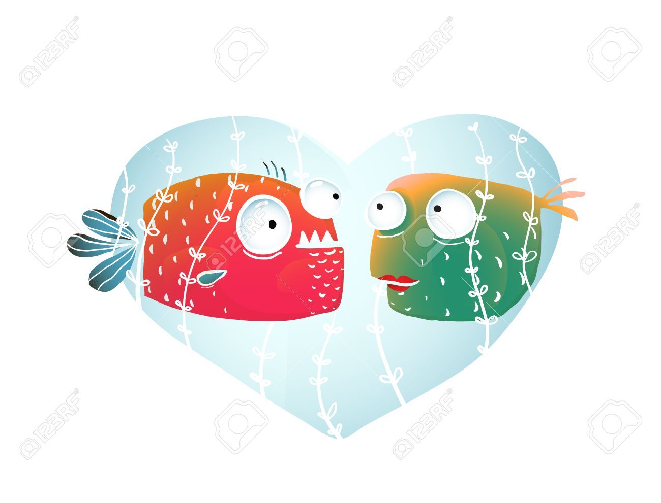 Submarino Pescados De La Historieta En El Amor Con El Corazon Azul