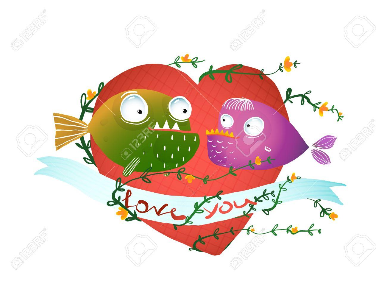 Cartoon Fish In Love With Red Heart For Kids Design. Fun Cartoon ...