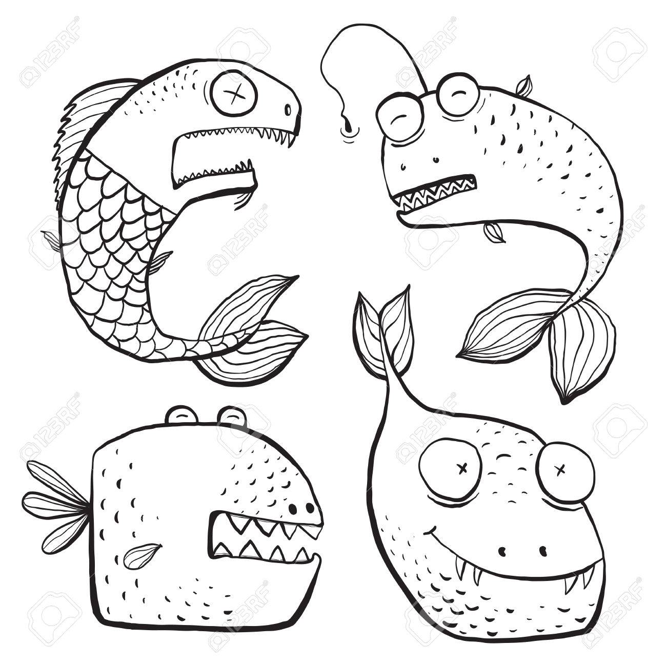 fun black and white line art fish characters coloring book cartoon