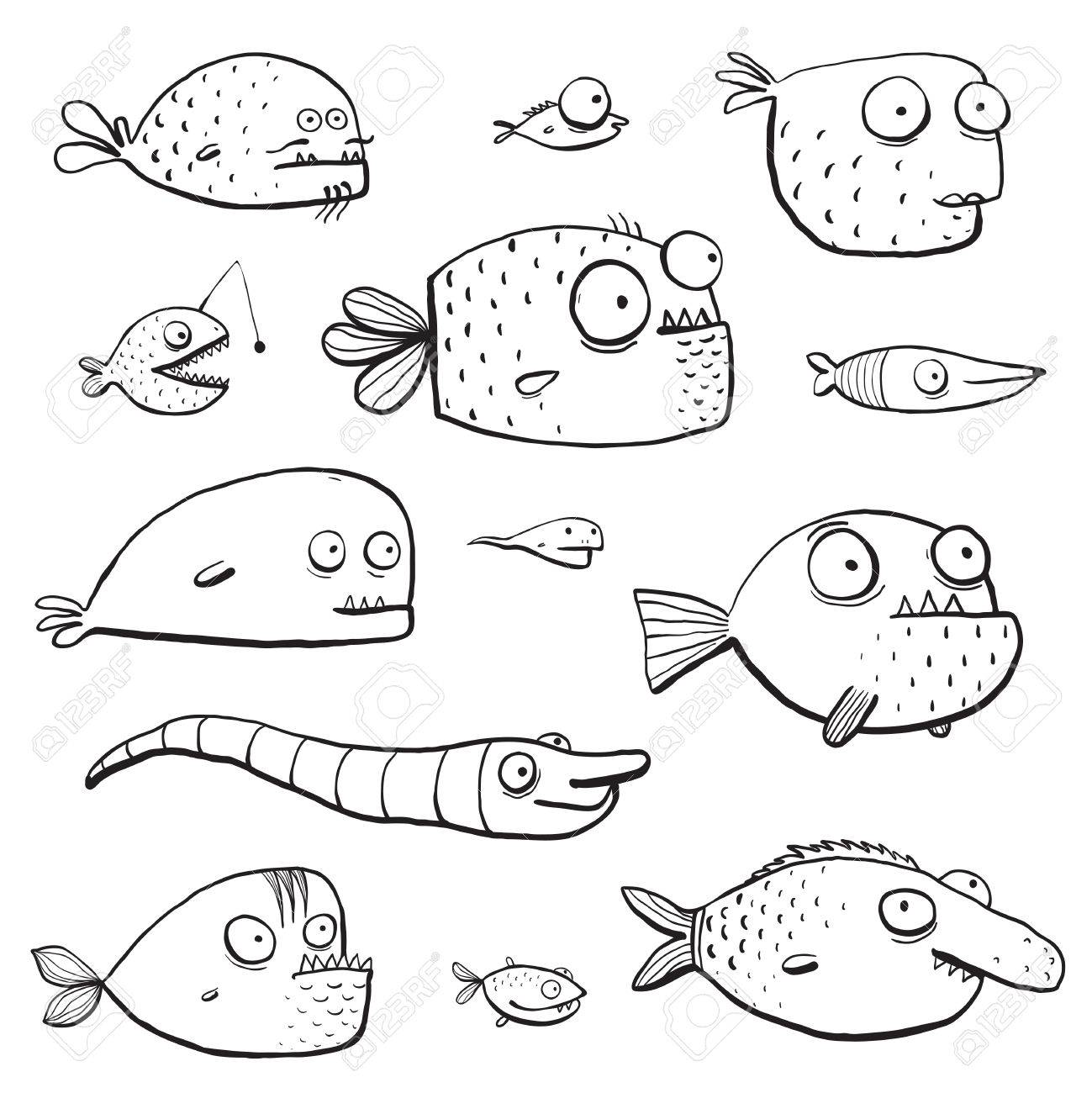 Coloring book page of fish - Black Outline Humor Cartoon Swimming Fish Characters Collection Coloring Book Pages Cute In Black Lines