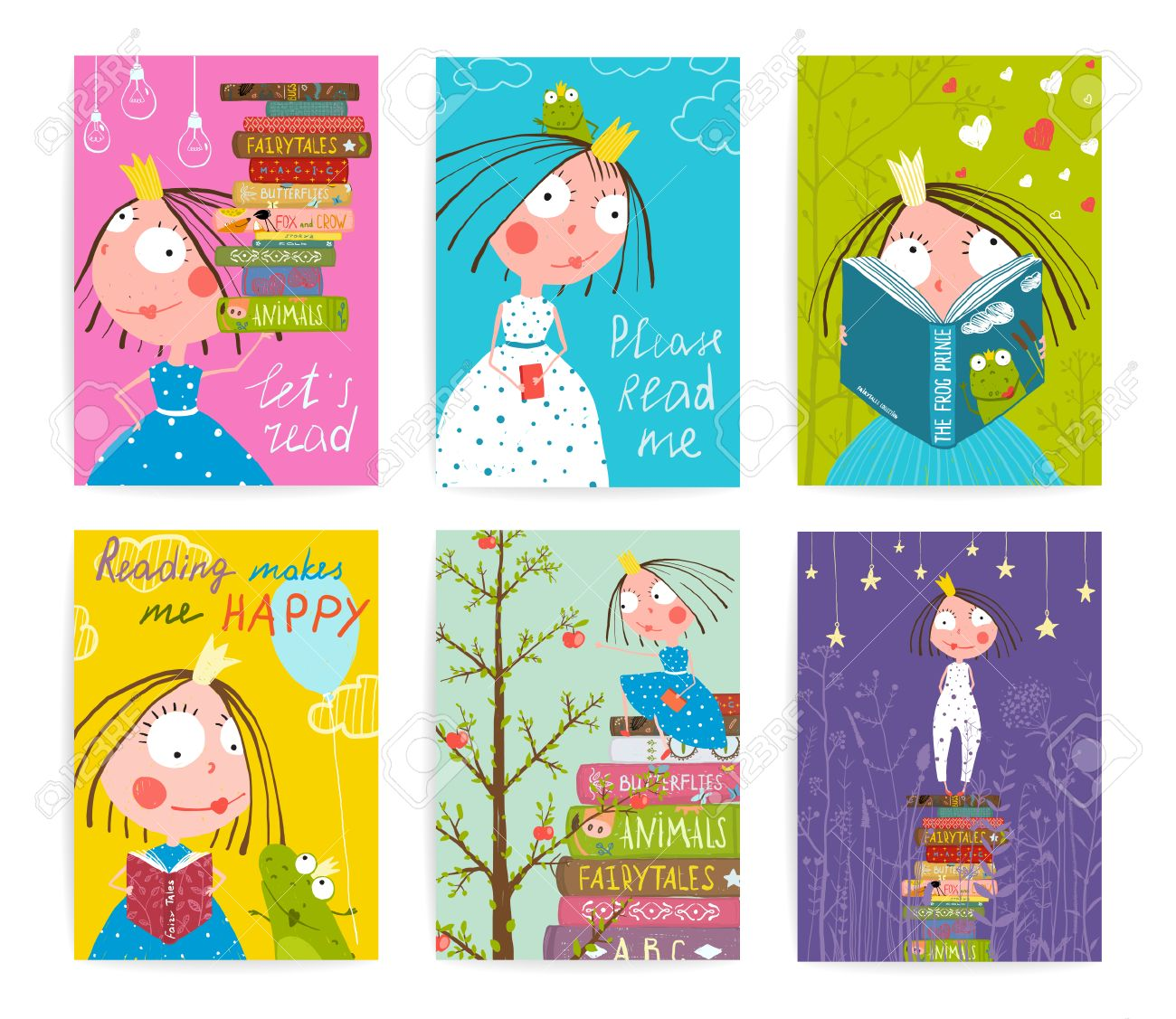 Cute Little Princess Kids Reading Fairy Tale Books Library Poster Collection. Colorful a4 cute girl cards big bundle with a sign for a little child about reading literature. Vector illustration. - 45635108
