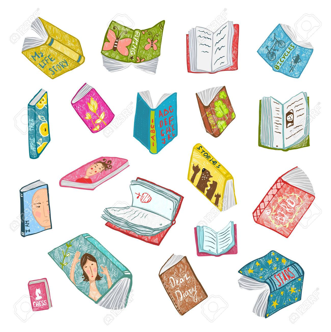 Colorful Open Books Drawing Library Collection. Big set of hand drawn brightly colored literature covers illustration. - 45635110