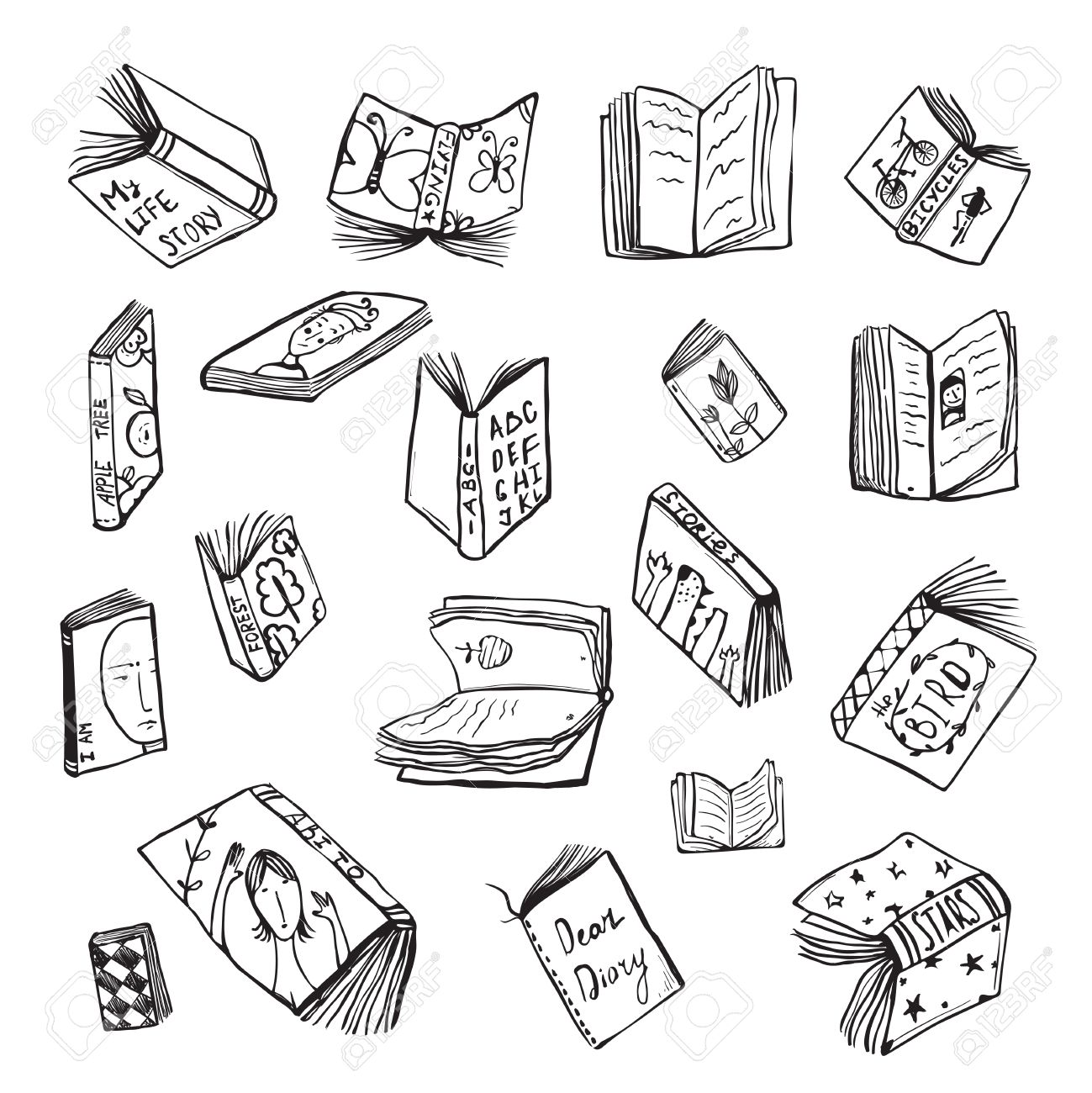 Open Books Drawing Reading Collection in Black Lines. Big set of hand drawn black and white outline literature covers illustration. - 45635116