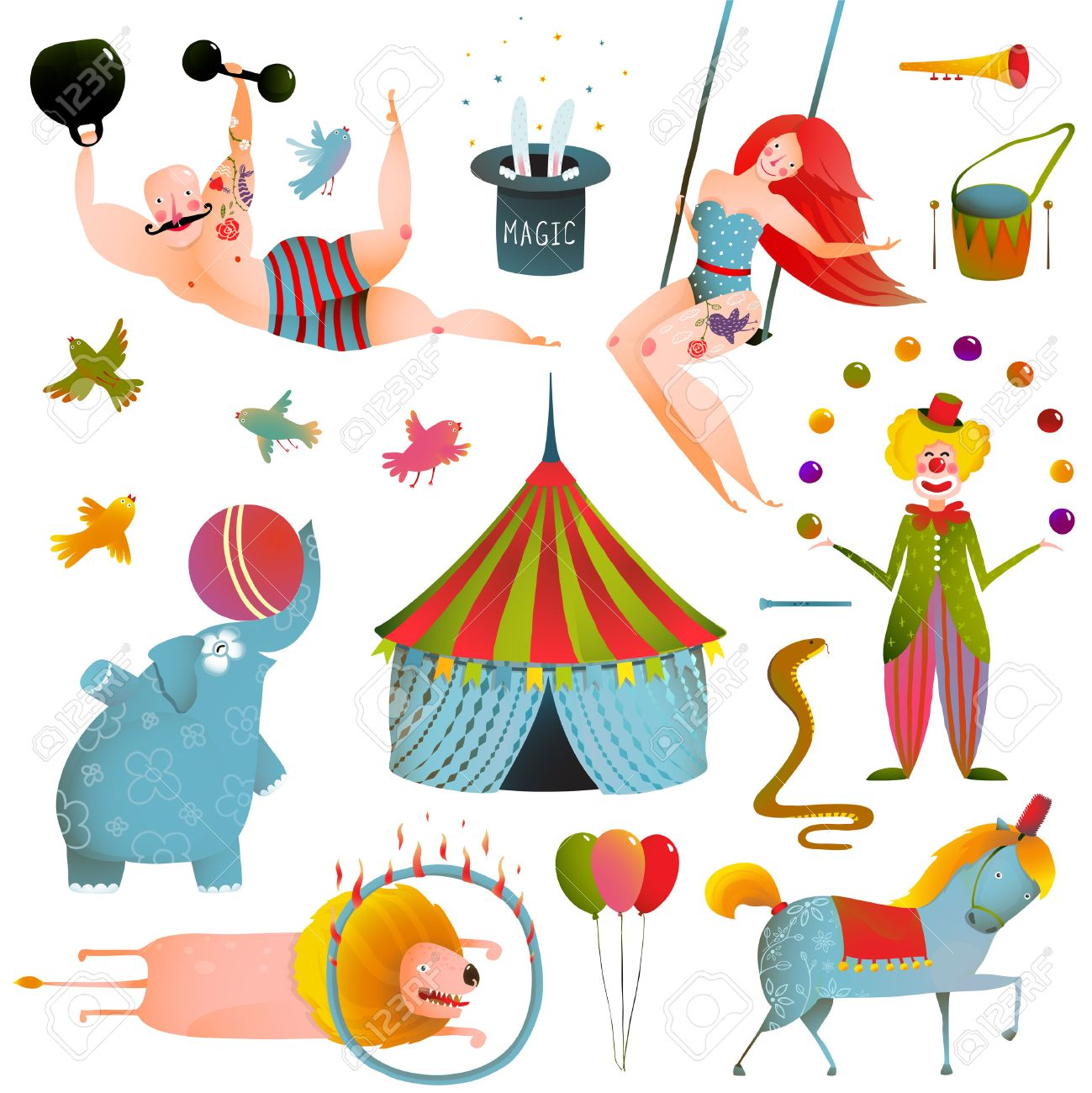 Circus Carnival Show Clip Art Vintage Collection. Fun and cute performance with animals, clown, strong man and horse set. Vector illustration. - 45635118