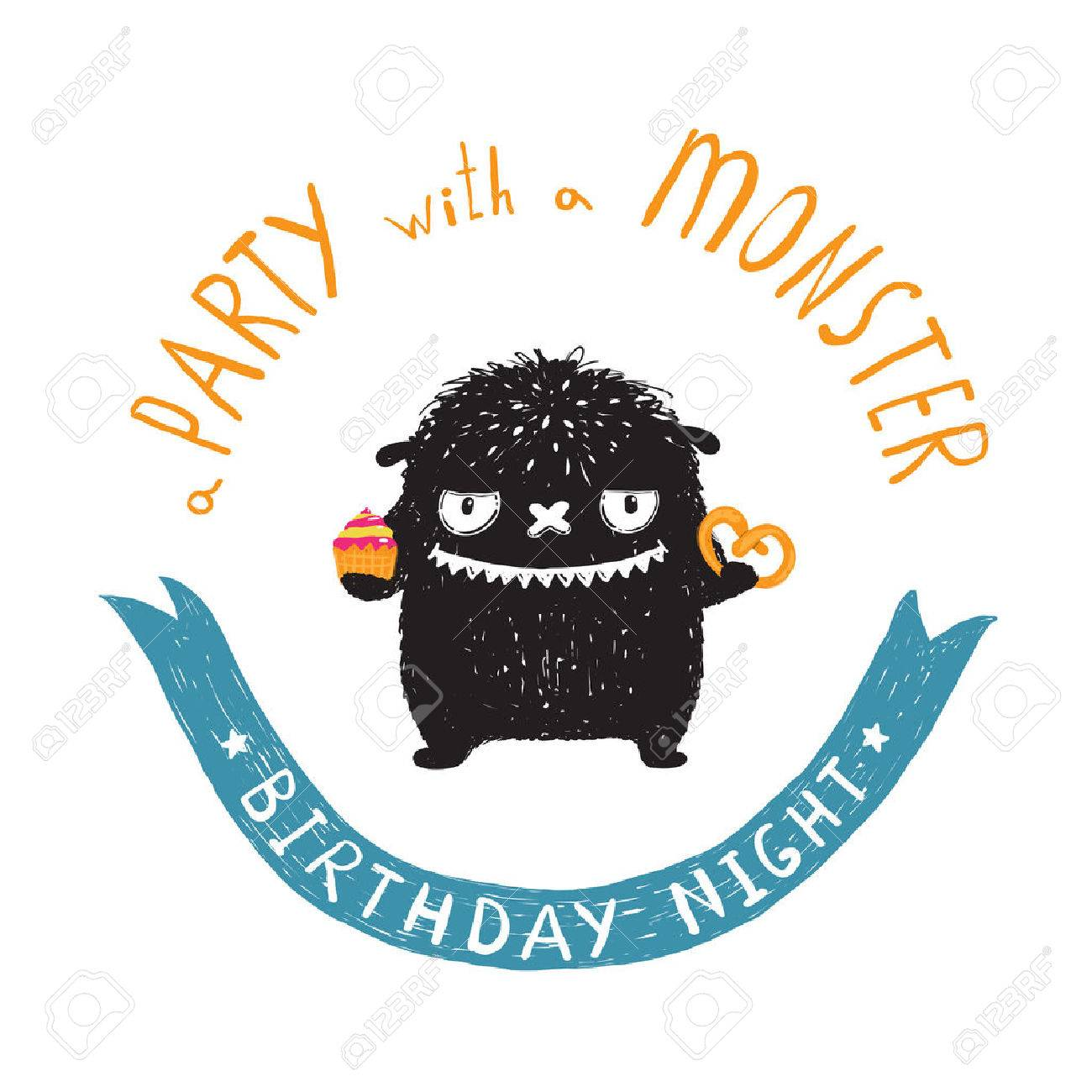 Funny Cute Little Black Monster Birthday Party Greeting Card Or ...