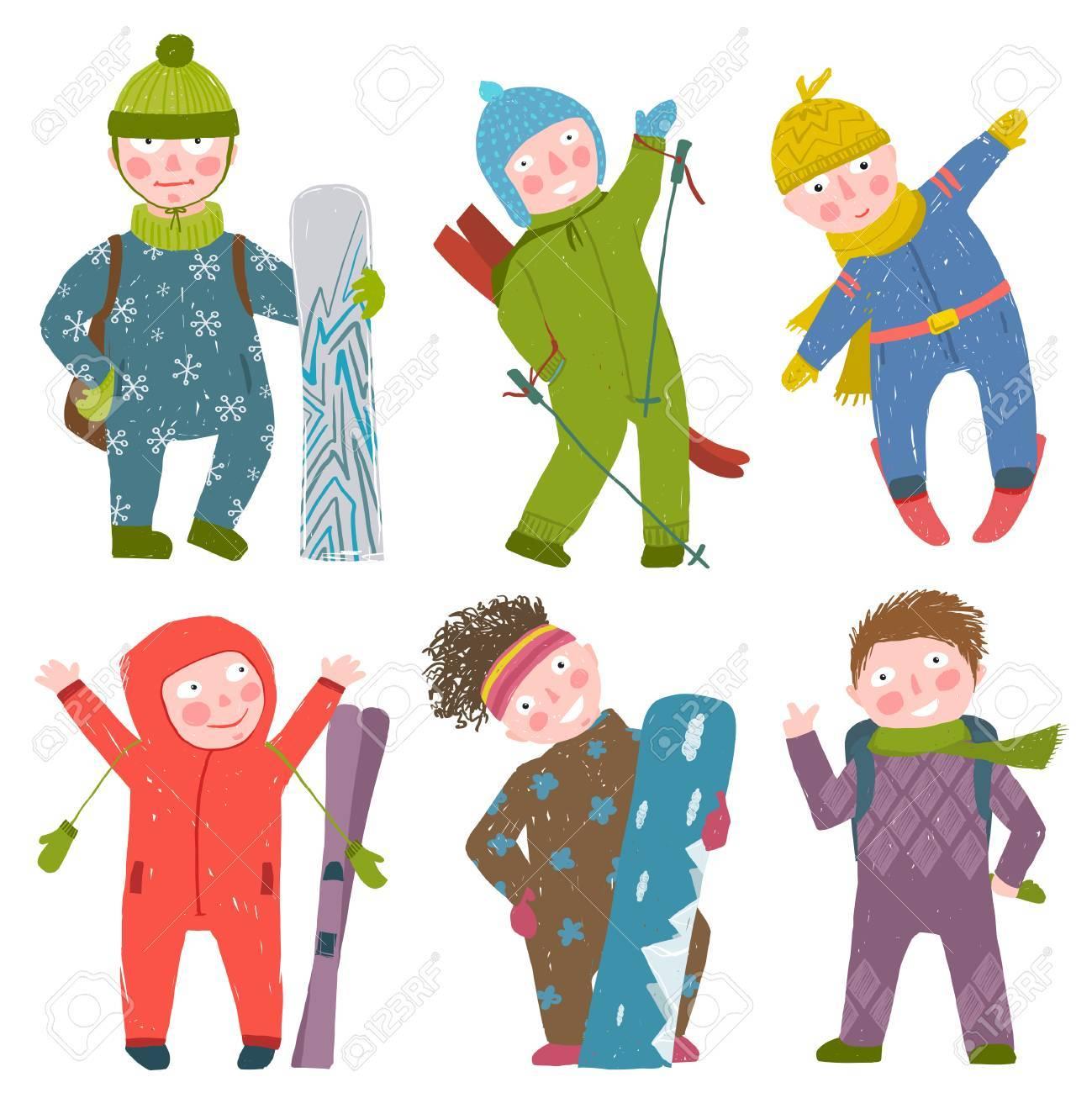 Snowboarding and skiing winter season fun sport vector illustration. - 46999102
