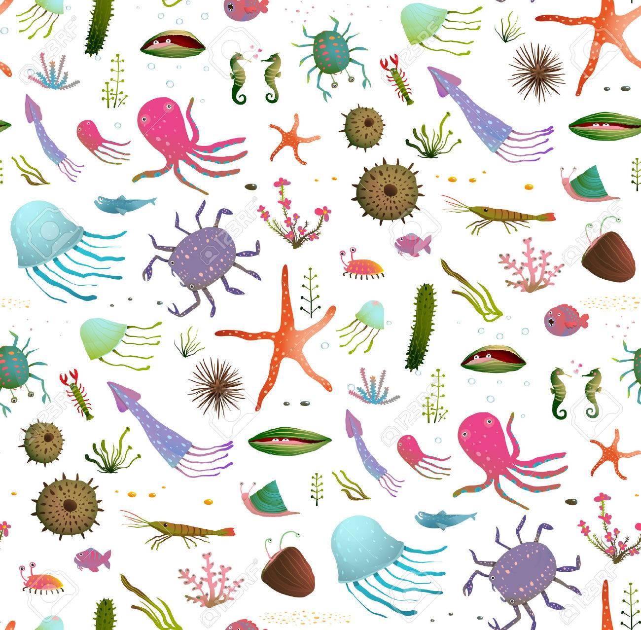 カラフルな子供の漫画の海生活のシームレスなパターン背景白地。幼稚な