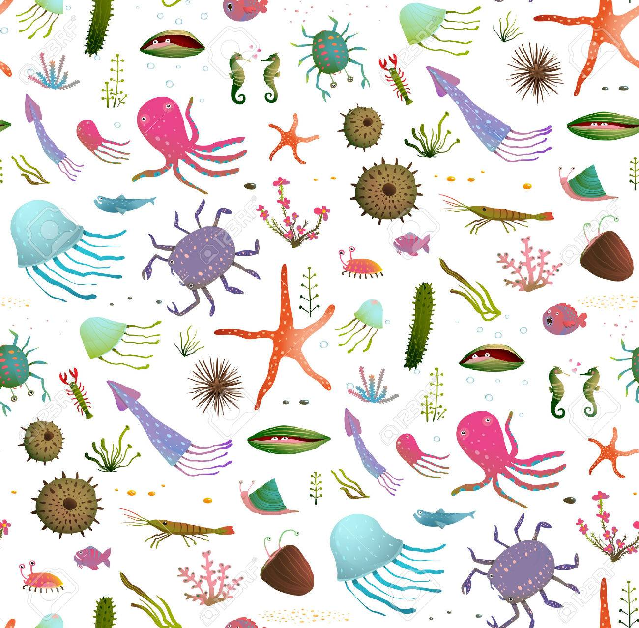 Colorful Kids Cartoon Sea Life Seamless Pattern Background On ...